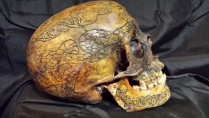 Photo of a real human skull from Zane Wylie Carved Skulls