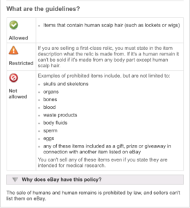 eBay human remains policy